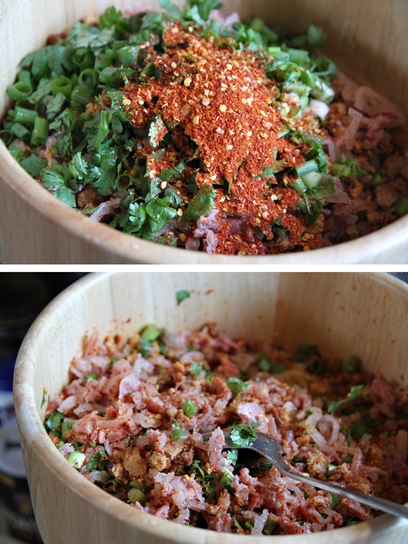 sour pork rice salad