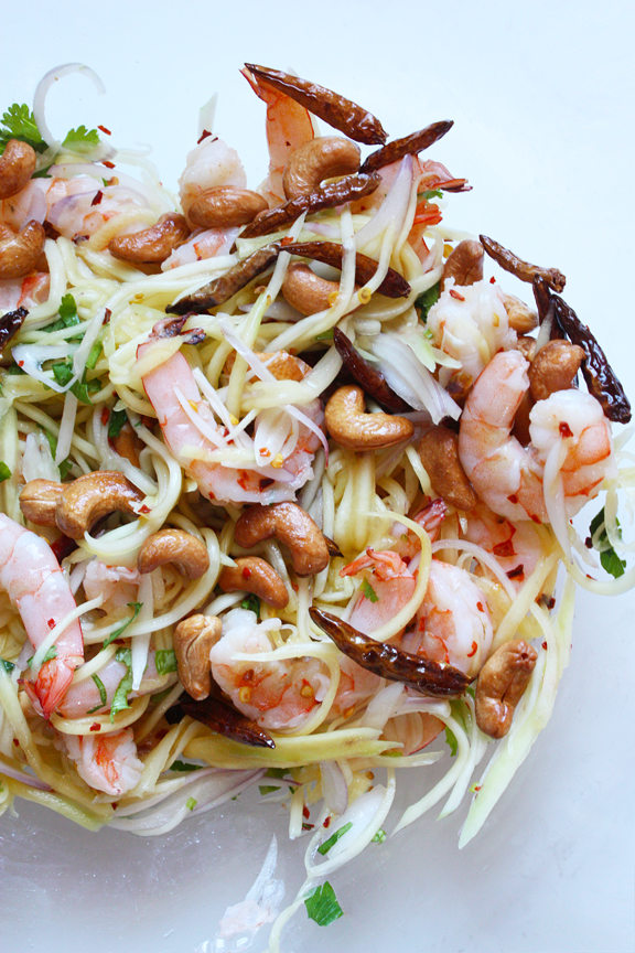 Thai Green Mango Salad with Grilled Shrimp by SheSimmers.com