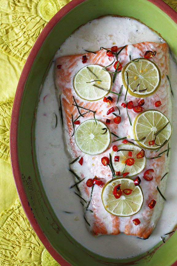 Baked Salmon in Lime-Coconut Cream Sauce (ปลาแซลมอนอบกะทิ)