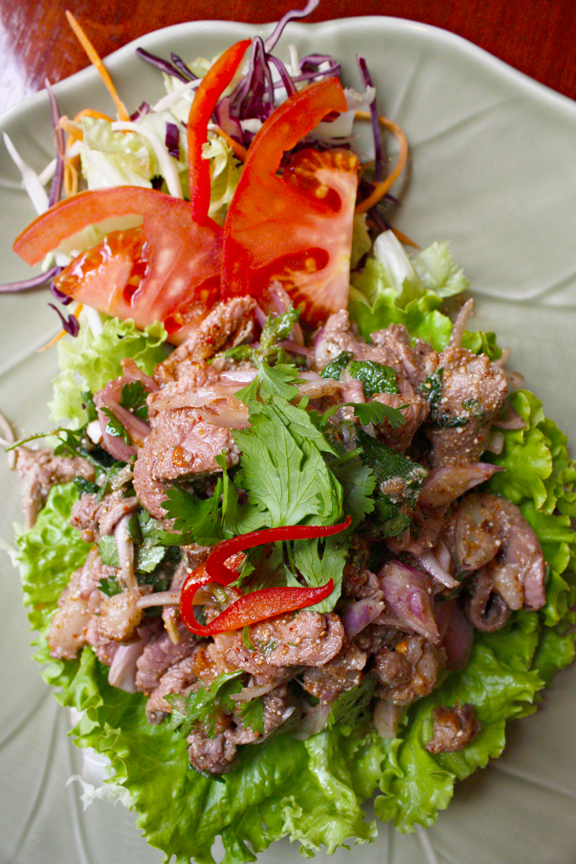 Thai spicy duck salad by Bangkok Royal Restaurant in Lyon, France