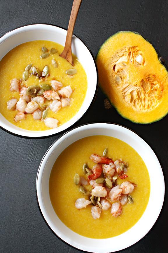 Rice Pumpkin Porridge with Garlic Shrimp and Crispy Pumpkin Seeds