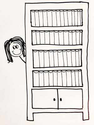Leela Punratabandhu poking her head from behind her bookshelves
