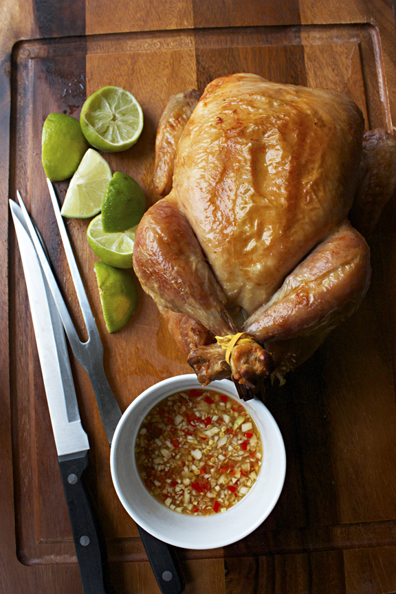 Lemongrass-Scented Roasted Chicken with Spicy Dipping Sauce by SheSimmers.com